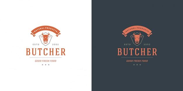 Butcher shop logo   cow head silhouette good for farm or restaurant badge Premium Vector