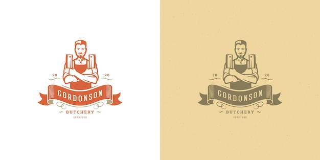 Butcher shop logo illustration chef holding knifes silhouette set Premium Vector