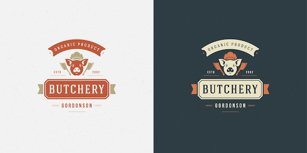 Butcher shop logo illustration pig head silhouette set Premium Vector