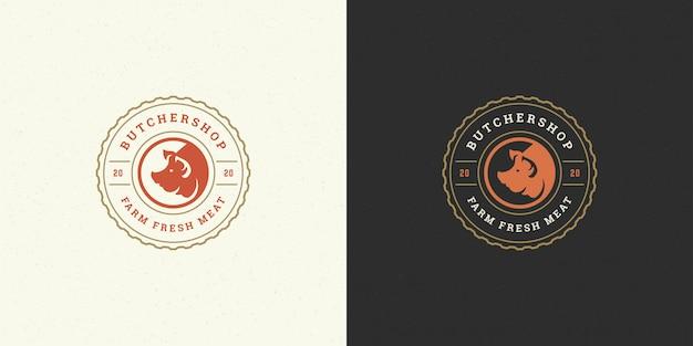 Butcher shop logo   pig head silhouette good for farm or restaurant badge Premium Vector
