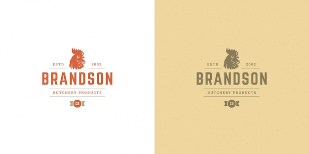 Butcher shop logo   rooster head silhouette good for poultry farm or restaurant badge Premium Vector