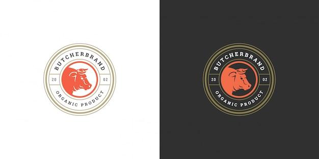 Butcher shop logo vector illustration bull head silhouette good for farm or restaurant badge Premium Vector