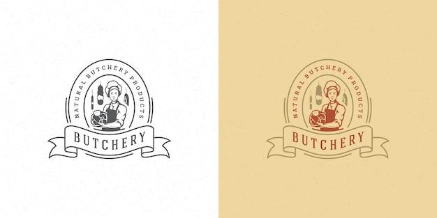 Butcher shop logo vector illustration chef holding meat silhouette good for farmer or restaurant badge Premium Vector