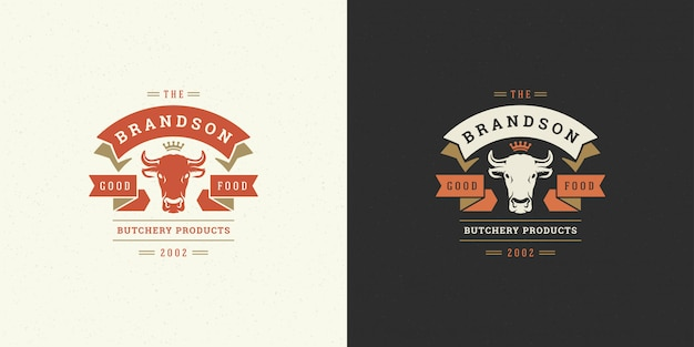 Butcher shop logo vector illustration cow head silhouette good for farm or restaurant badge Premium Vector