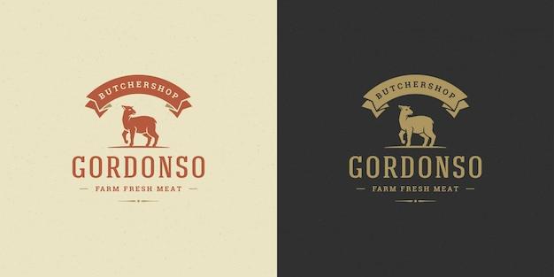 Мясной магазин логотип векторные иллюстрации ягненка силуэт хорошо для фермы или ресторана значок Premium векторы