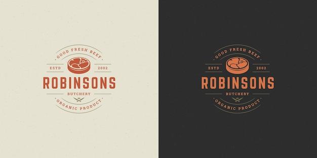 Butcher shop logo vector illustration meat steak silhouette good for farm or restaurant badge Premium Vector