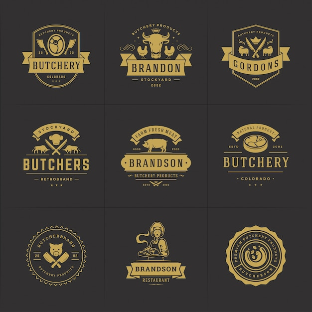 Butcher shop logos set   good for farm or restaurant badges with animals and meat silhouettes Premium Vector