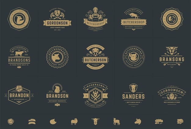 Butcher shop logos set illustrations Premium Vector