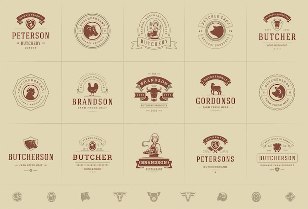 Butcher shop logos set vector illustration good for farm or restaurant badges with animals and meat silhouettes Premium Vector
