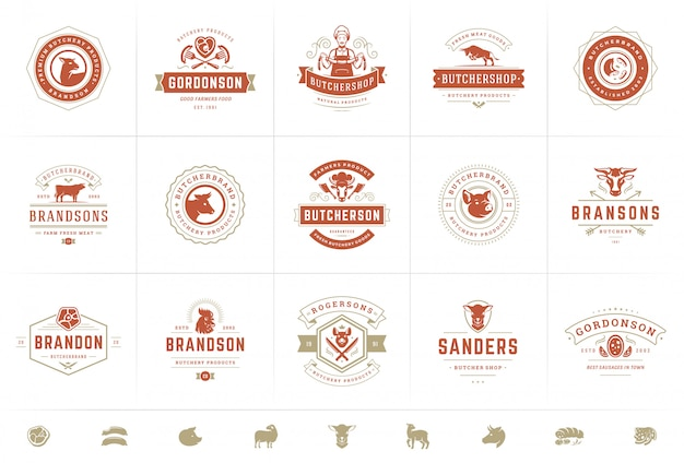Butcher shop logos set vector illustration good for farm or restaurant badges with animals and meat Premium Vector