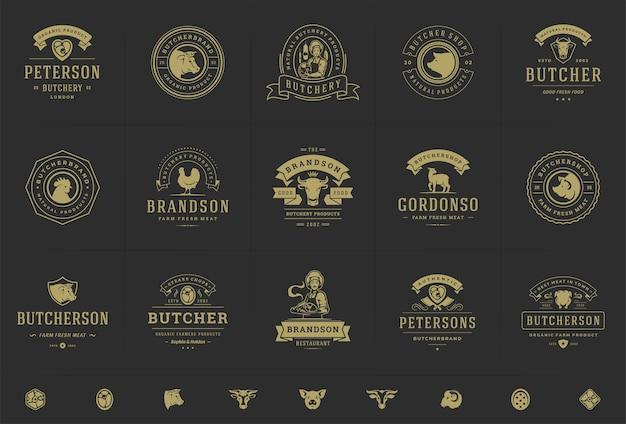 Логотипы мясного магазина устанавливают векторные иллюстрации, подходящие для значков фермы или ресторана с силуэтами животных и мяса Premium векторы