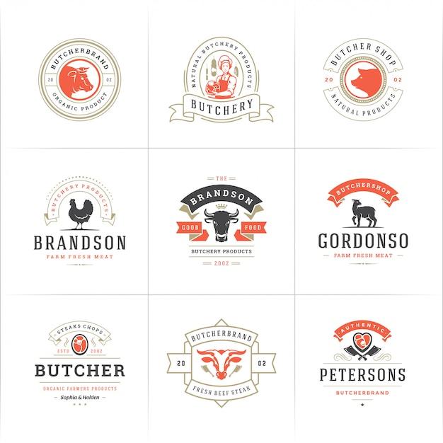 Логотипы мясного магазина установили иллюстрацию вектора хорошую для значков фермы или ресторана с животными и мясом Premium векторы
