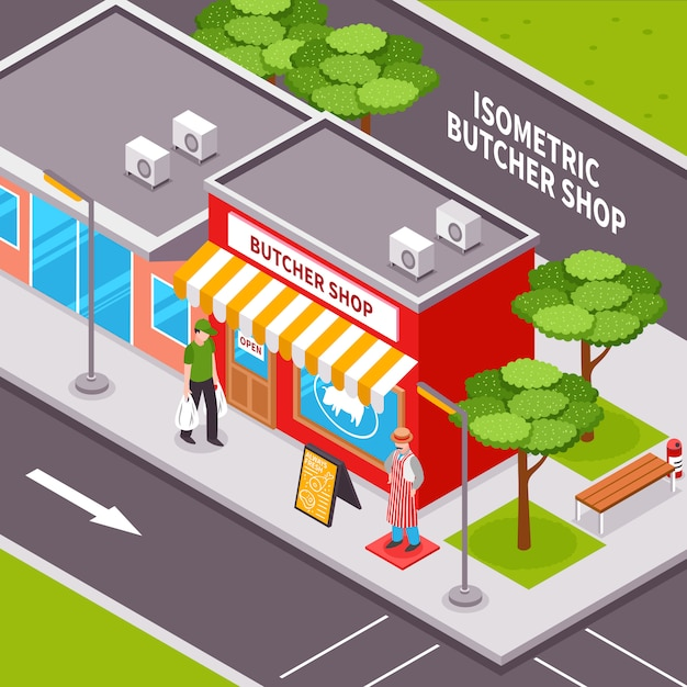 Butcher shop outside isometric design Free Vector