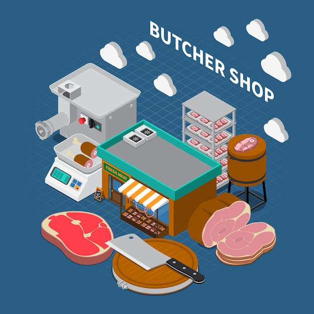 Butchers shop isometric Free Vector