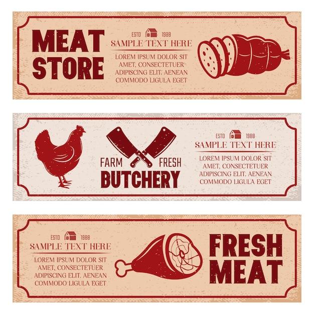 肉屋の水平方向のバナーセット 無料ベクター