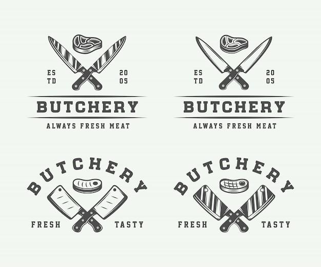 Butchery logos, emblems Premium Vector
