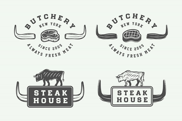 Мясные логотипы Premium векторы