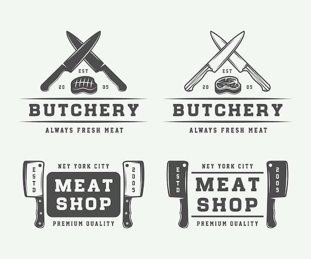 肉屋の肉、ステーキ、バーベキューのロゴ Premiumベクター