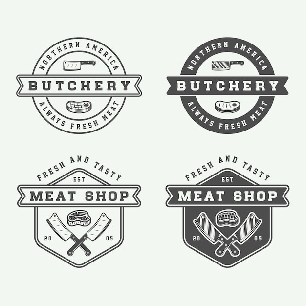 Butchery meat, steak Premium Vector