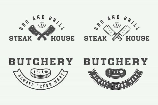 Butchery steak logos, emblems Premium Vector