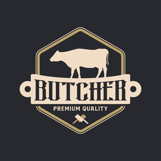Buther vintage logo Premium Vector