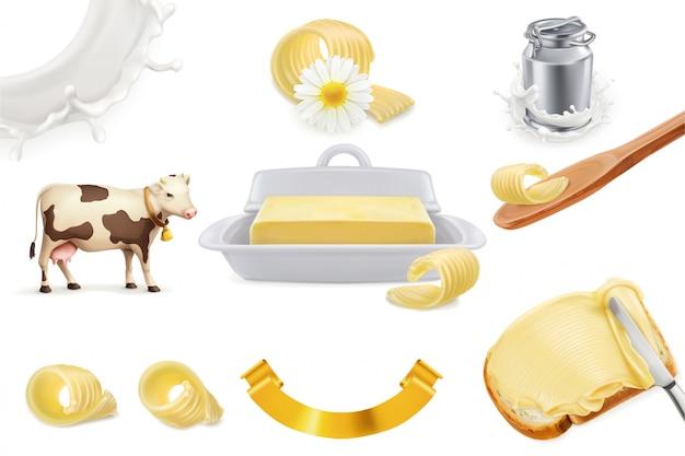 バター。ミルク農場。現実的なセット Premiumベクター