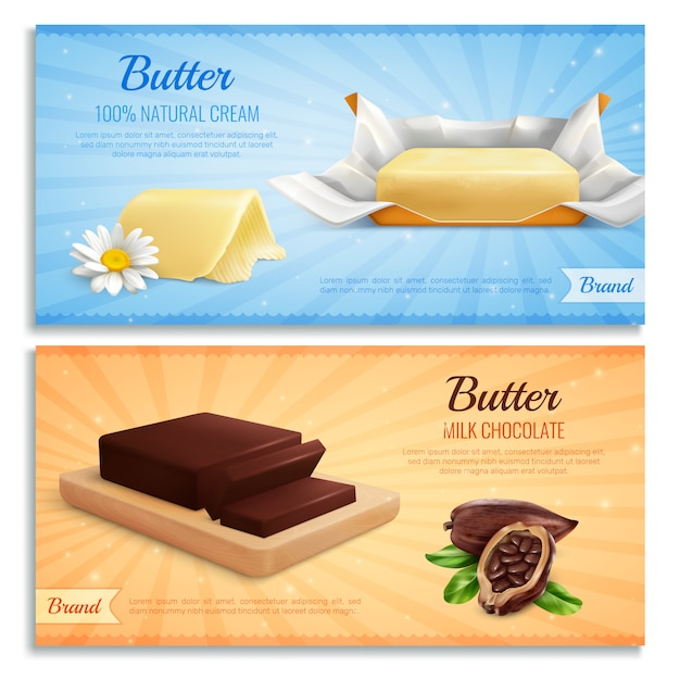 Butter realistic banners as mockup for advertising brand produce milk chocolate and natural cream butter Free Vector