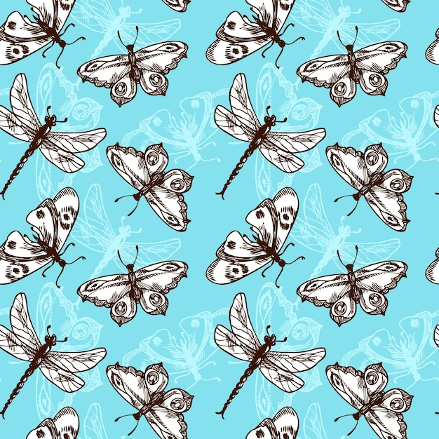 Butterflies and dragonflies insects blue sketch\ seamless pattern vector illustration