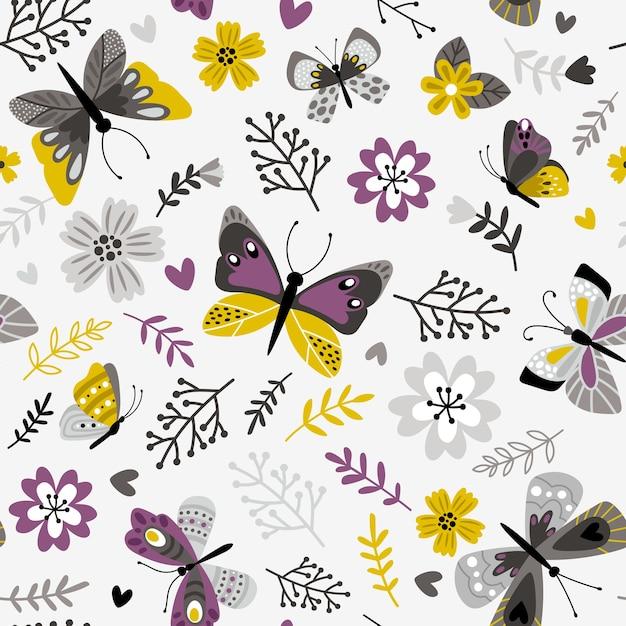 蝶と小枝のパターン。花の植物のシームレスな印刷、白、装飾的な春の牧草地の植物相ベクトルイラスト Premiumベクター