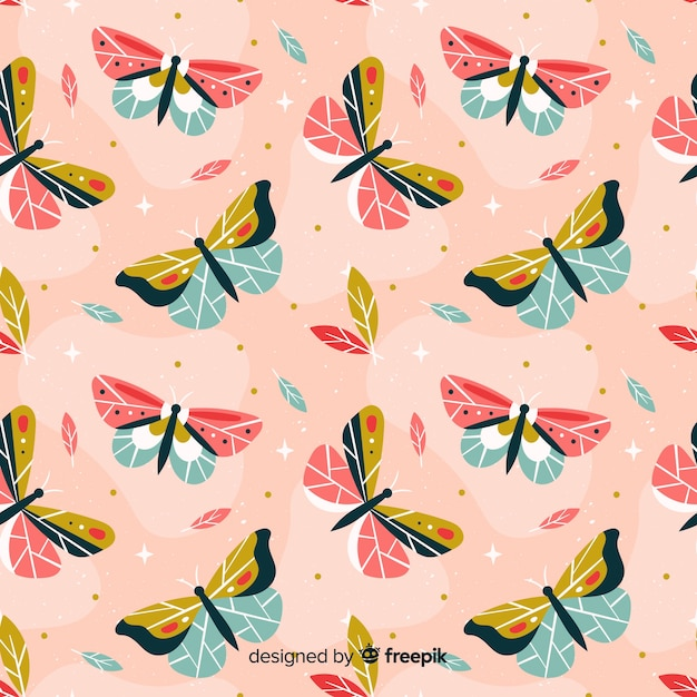 蝶の背景 無料ベクター