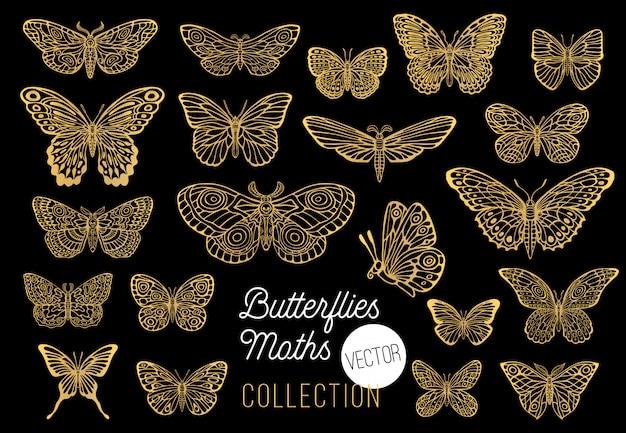 蝶図面セット、分離、スケッチスタイルコレクション挿入翼エンブレムシンボル、ゴールデン、ゴールド、黒の背景。手描きイラスト。 Premiumベクター