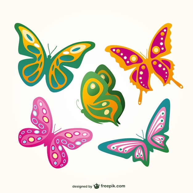 Butterflies flying set Free Vector