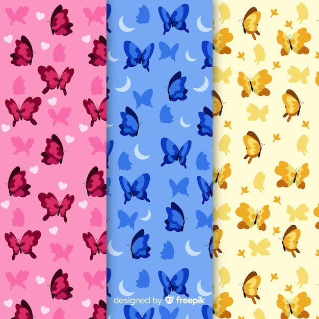 Butterflies pattern collection Free Vector