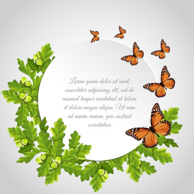 Butterflies round frame Free Vector