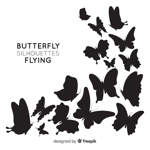 Butterflies silhouettes background Free Vector