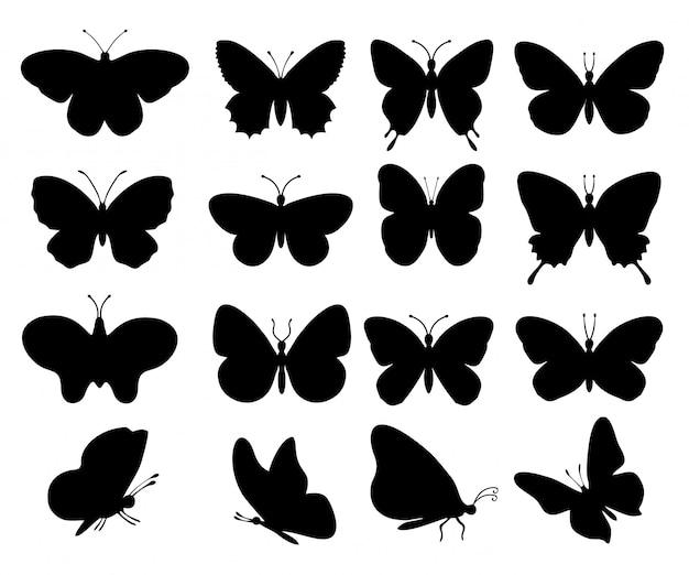 蝶のシルエット。白い背景の春蝶シルエットコレクション。 Premiumベクター