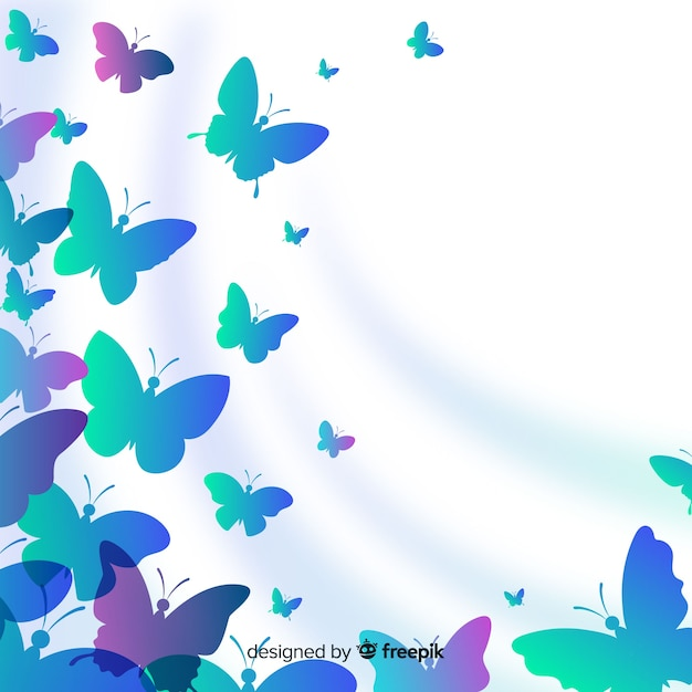 Butterflies silhouettes Free Vector