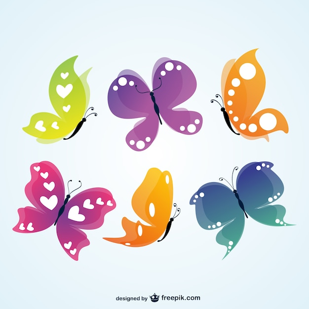 Butterflies with hearts in their wings Free Vector