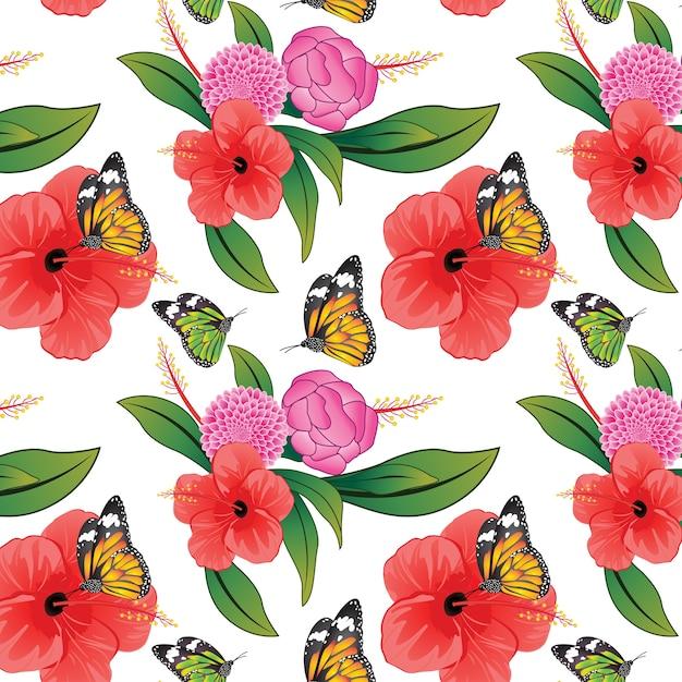 蝶とカラフルな花のパターン Premiumベクター