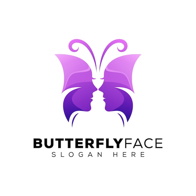 Butterfly face logo, beauty woman logo, beauty with butterfly logo concept Premium Vector