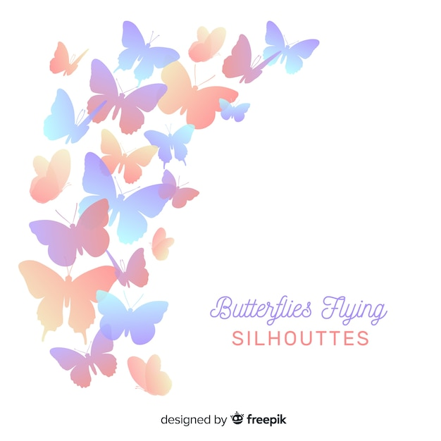 Butterfly flying silhouettes Free Vector