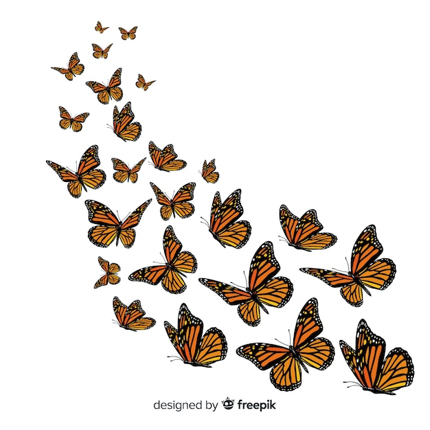 Butterfly group flying background Free Vector