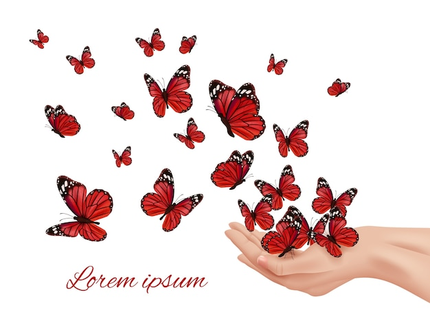 Butterfly in hands. flying wings papillon farfalle monarchs many colored butterflies vector concept. insect flying from human hands illustration Premium Vector