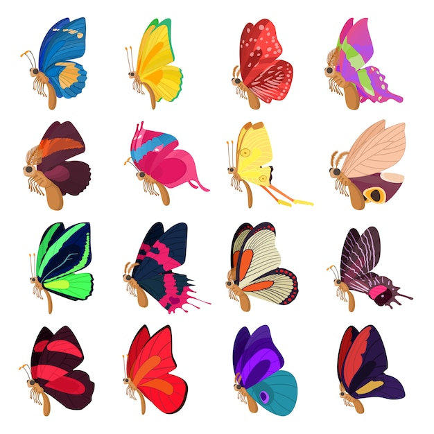 Butterfly icons set in cartoon style vector Premium Vector