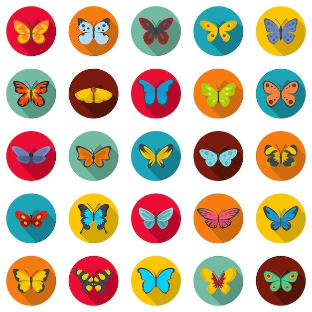 蝶のアイコンセット、フラットスタイル Premiumベクター