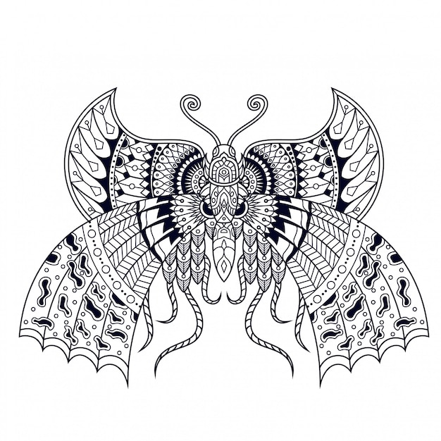 Butterfly illustration, mandala zentangle and tshirt design Premium Vector