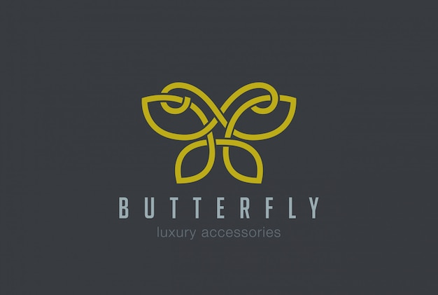 Butterfly jewelry logo linear vector icon Free Vector