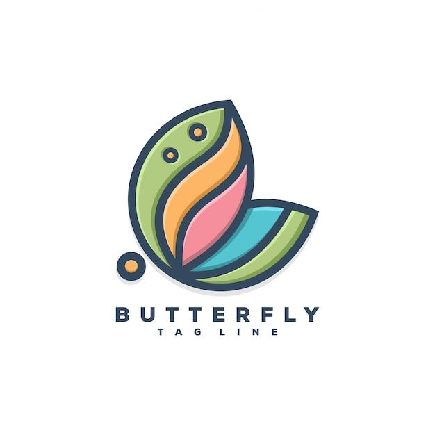 蝶のロゴの概念イラストデザイン Premiumベクター