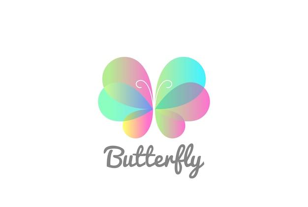 蝶のロゴのテンプレート。 無料ベクター