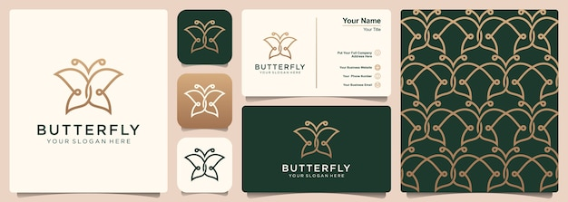 Butterfly logo with set of logo, pattern and business card design. concept for luxury, beauty natur